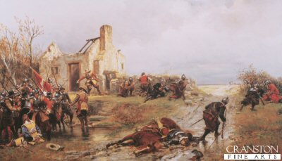 DHM173.  A scene From the Civil War by Ernest Crofts.<b><p>Open edition print. <p> Image size 32 inches x 17 inches (81cm x 43cm)