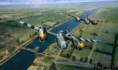DHM1745. Tactical Support by Richard Taylor. <p>With bright yellow spinners and distinctive twin-booms glinting in the June sunshine, two P-38 Lockheed Lightnings of the USAAFs 79th Fighter Squadron, 20th Fighter Group hurtle low over Pegasus Bridge as they race across the Normandy landscape shortly after the D-Day landings, June 1944.  Flying from their base at Kings Cliffe in Cambridgeshire they have today been tasked to support the advancing allied forces; they will strafe and bomb the enemy lines, destroying enemy communications, armour and ground targets, causing as much chaos and disruption as they can.  Dangerous work, these low-level missions, but tasks that the tough P-38 pilots relish.  A few days before, the bridge below had witnessed a very different scene.  The first action on D-Day happened here when, moments after midnight on the night of 5th - 6th June, three gliders swooped silently from the sky to land within yards of their target - this vital road bridge across the Caen canal.  Major John Howard and men of the 6th British Airborne Division were to seize and hold this strategic point.  After a brief but furious fire-fight the stunned German defenders were overwhelmed and the bridge captured.  The Invasion of France had begun, and for the Germans it was the beginning of the end.  Hitlers much vaunted armies had begun their slow bitter retreat to the end that was the burning hell of Berlin. When it came to hammering German ground forces in the days after D-Day, Lockheeds outstanding P-38 Lightning gained an awesome reputation. Richard Taylors evocative new painting recreates the scene over Pegasus Bridge shortly after D-Day as a pair of P-38 Lightnings thunder inland in support of the advancing allied armies. Below, signs of the recent action are still plainly visible as trucks and their exhausted drivers hasten back to the beach-head to collect reinforcements. <b><p> Signed by <a href=signatures.php?Signature=1538>Captain James Kunkle</a> and <a href=signatures.php?Signature=1539>Lieutenant Colonel William Willis</a>. <p>Signed limited edition of 350 prints.  <p> Paper size 33 inches x 23 inches (84cm x 58cm) - Image size 26 inches x 16 inches (66cm x 41cm)