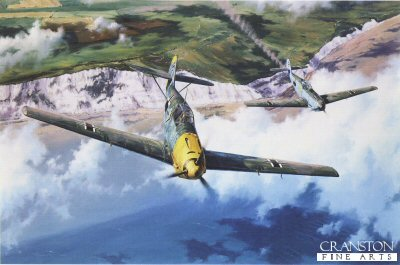 DHM1749. Homeward Bound by Anthony Saunders. <p> Summer 1940: it has been another rough day for the sasoned pilots of JG-26 Schlageter.  Once again they have flown out of their base at Abbeville in northern France to escort the massed bombers of the Luftwaffe against the RAFs fighter airfields of southern England, and once again they have been locked in deadly combat with the Spitfires and Hurricanes of RAF Fighter Command.  The Battle of Britain is reaching its climax and, for the first time, the Luftwaffe tastes defeat.  This painting by Anthony Saunders brings to life a typical cameo from those long and arduous aerial contests, an Me109 from JG-26 has taken a hit during the fighting, the engine is overheating, and beginning to trail smoke.  But the Squadron Commander, the legendary Adolf Galland, closes in to escort the stricken fighter back across the Channel.  Crossing the iconic white cliffs of Dover, the drama has time to run. <b><p> Signed by Major Hans-Ekkehard Bob and General Gunther Rall (deceased). <p> Signed limited edition of 400 prints. <p> Image size 21.5 inches x 14 inches (54cm x 36cm)