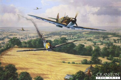 DHM1750AP. High Summer by Anthony Saunders. <p> On the 9th September 1940,  No.92 Squadron was thrown into the Battle of Britain.  They had fought bravely during the evacuation of Dunkirk, and after a spell on convoy patrol, they were thrust into the desperate climax of the greatest air battle in history.  Flying Spitfires from Biggin Hill, they immediately went into action attacking massive Luftwaffe bomber formations and their escorting Me109s.  Southern England was under severe threat, but the impact of 92 Squadron was immediate.  During the next four months, its young pilots brought down no fewer than 127 enemy aircraft.  This painting by Anthony Saunders portrays Spitfires from No.92 Sqn as they successfully engage an Me109 over the harvested fields of southern England, in August 1940.  The desperate action of aerial combat is beautifully captured in this compelling and accurate reconstruction of a famous fighter squadron at war. <b><p> Signed by Flight Lieutenant Alexander N R L Appleford (deceased) and Flight Lieutenant Trevor Gray. <p> Limited edition of 25 artist proofs. <p> Paper size 26.5 inches x 19.5 inches (67cm x 50cm)  Image size 21.5 inches x 14 inches (54cm x 36cm)