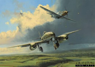 DHM1751. Running the Gauntlet by Robert Taylor. <p> Though some 1400 of Germanys remarkable Me262 jet aircraft were built, fewer than 300 ever saw action during its short 10 month combat career, the 550 mph fighter-bomber arriving in service too late to make any impression on the course of the war.  Most famous of all Me262 units was Jagdverband 44, commanded by General Adolf Galland. Instructed by Hitler to set up a small defensive fighter unit to make the most of the new Me262, Gallands JV44 attracted other top-scoring pilots, including top aces Macky Steinhoff and Walter Krupinski, and the unit soon became dubbed Gallands Squadron of Experts.  Though doing their best to repel daylight attacks on jet production plants in Southern Germany, JV44 were fighting a losing battle. During a raid on 9 April 1945 the unit lost nine aircraft - a pattern that was to continue. Also, American fighter pilots, unable to catch the 262 in the air, found success taking the jets out as they took off or landed, catching them while at their most vulnerable. With the Allies driving deeper and deeper into Germany, production of aircraft, spares, fuel, and ammunition, steadily dried up. The point came when JV44, Gallands now legendary Squadron of Experts, finally ground to a halt.  Running the Gauntlet shows Me262s of JV44 returning to base in southern Germany, having come under attack from P-51 Mustangs of the 353rd Fighter Group. Almost out of fuel and ammunition, the Me262s have little option but to complete their landing sequence, hoping fervently they are not bounced by American fighters loitering in the area. They are out of luck on this occasion, and although Galland has organised a unit flying Focke-Wulf Fw190D-9s to provide air cover in the area of the airfield, they too have been caught by the 353rd Fighter Groups surprise attack. At the relatively slow speed required on final approach, the Me262s handling is sluggish and the pilot is having enough trouble without the attentions of a bunch of P-51 pilots. At this point the JV44 Me262 remains unscathed, and with the arrival of the Fw190s, there is the possibility this particular jet pilot will survive the day. <b><p> Signed by Major General Donald Strait (deceased), Lieutenant Colonel Clyde B East, Leutnant Norbert Hannig and Oberleutnant Walter Schuck (deceased). <p> Aces Edition : signed limited edition of 400 prints.  <p> Paper size 33 inches x 25 inches (83cm x 64cm)