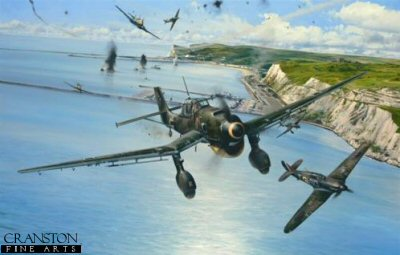 DHM1753. Open Assault by Robert Taylor. <p> The Junkers Ju87 Sturzkampfbomber, known to the British simply as the Stuka, had already acquired a deadly reputation across Europe, its siren screaming as the ungainly dive-bomber struck terror into the hearts of those below. In 1940 its pilots crossed the Channel with their grim-looking aircraft to terrorise the southern towns and ports of England. Robert Taylors painting Open Assault, depicts Hurricanes of 501 Squadron attacking a force of Ju87 Stukas as they dive-bomb naval vessels and installations in the port of Dover on 29 July 1940. High explosive bombs detonate within the sheltered anchorage as escorting Bf109s from JG51 race in to protect their lumbering charges. Four Stukas and two Me109s are despatched, for the loss of just one RAF aircraft. <b><p> Signed by <br>Group Captain Byron Duckenfield AFC (deceased), <br>Leutnant Wilhelm Noller (deceased) <br>and <br>Tony Pickering AFC. <p> Signed limited edition of 400 prints.  <p> Paper size 33 inches x 25 inches (83cm x 64cm)