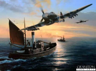 DHM1765. Typhoons Outward Bound by Richard Taylor. <p> In the months following D-Day, Hawkers hard-hitting, snub-nosed Typhoon struck terror into the German formations in Normandy, crack Panzer units wilted under the constant hail of rockets and bombs. Several times a day the Typhoon pilots would cross the Channel to run the gauntlet of flak and ground fire, and deliver their lethal cargo. The disaster befell the German Army during the third week in August 1944.  For over two months, sixteen divisions of the Germany Army had battled to contain the huge tide of the Allied armies as they swept ashore in the weeks following D-Day.  Overwhelmed by the size and determination of the invasion force, the Germans fell back amidst bitter fighting, contesting every town, every village, and every hedgerow.  But there was one thing they could not fight against - devastating Allied air superiority - and leading the assault were the deadly ground-attack Typhoons of the RAF.  Equipped with cannons and eight lethal rockets, the Typhoons simply cut the German Panzer Divisions to shreds, the burning, blasted, and obliterated hulks of tanks and vehicles lay srewn across an ever decreasing battlefield as the Allies fought to snare their enemy within the Falaise Pocket.  And ensnare them they did.  The only option for the Germans was to surrender or perish.  Most choose to surrender, thousands and thousands of crack troops crushed by one of the deadliest air to ground attacks in history.  The Typhoons lethal weaponry is clearly visible in Richard Taylors beautiful painting Typhoons Outward Bound. As another fine summer day begins, Typhoon Mk1bs of 247 Squadron are en-route to the Normandy battlefront, the first of several missions that day.  Skimming at mast-top height, the Typhoons pass over two ancient steam drifters, conscripted into the wartime role of patrolling the Channel and, should the need arise, rescuing any downed aircrew in need of help. <b><p> Signed by <br> <a href=signatures.php?Signature=895>Wing Commander John Elkington</a>, <br> <a href=signatures.php?Signature=1211>Warrant Officer John Abe Lincoln</a> <br>and <br> <a href=signatures.php?Signature=1213>Pilot Officer Rusty Townsend</a>. <p> Signed limited edition of 400 prints.  <p> Paper size 27.5 inches x 23 inches (70cm x 58cm)
