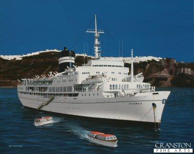 SS Uganda at Santorini by Ivan Berryman.