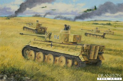 DHM1777. Alfred Rubbel at Kursk by David Pentland. <p> Central Russia, 4th-12th July 1943. For Operation Citadel the Heavy tank battalion 503 was split into separate companies and attached to various panzer divisions. Rubbels 1st company went to 6th Panzer Division, and as such take part in the epic breakthrough on the 10th and 11th which came close to the collapse of the soviet southern front! <b><p> Signed limited edition of 1150 prints. <p> Image size 17 inches x 12 inches (43cm x 31cm)