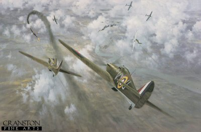 DHM1780. Defence of the Capital by Gerald Coulson. <p> High over London, Hurricanes of 85 Squadron engage Me109s in an intense dogfight during the heavy fighting of August 1940. <p><b>Last 12 print available of this sold out edition.</b><b><p>Signed by <br> Group Captain George H Westlake DSO DFC (deceased), Squadron Leader Kenneth Lee (deceased), Wing Commander Bob Foster DFC (deceased), Squadron Leader Doug Nicholls DFC (deceased) and Flight Lieutenant N L D Kemp DFC (deceased). <p> Signed limited edition of 400 prints.  <p> Paper size 27 inches x 20 inches (69cm x 51cm)  Image size 23 inches x 16 inches (58cm x 41cm)