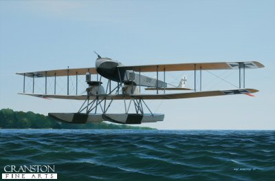 DHM1798. Gotha UWD by Ivan Berryman. <p> In response to a German Navy requirement for a floatplane version of their successful G.1 bomber, Gotha produced just one example of the Ursinus Wasser Doppeldecker, or UWD. The aircraft proved to be easy to fly with good take off and landing characteristics and was capable of carrying a considerable payload. On an unknown date in 1916, the UWD took part in a raid on Dover with four Friedrichshafen FF.33s, inflicting some damage to military installations in the area and returning safely. Despite this, Gotha UWD no 120/15 was written off by the navy early in October that same year. No further examples were built. <b><p>Signed limited edition of 20 giclee art prints. <p> Image size 26 inches x 17 inches (66cm x 43cm)