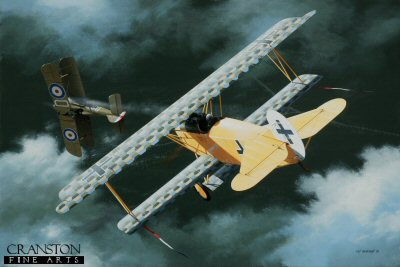 DHM1808PC. Oberleutnant Erich Lowenhardt by Ivan Berryman. <p> Erich Lowenhardt was already the holder of the Knights Cross 1st and 2nd Class for acts of bravery even before becoming a pilot. After serving as an observer for a year, he was eventually posted to Jasta 10 in 1917 where he immediately began to score victories, sending down balloons and enemy aircraft at a fearsome rate. He was appointed Commander of Jasta 10 one week before his 21st birthday, making him one the youngest pilots to rise to such a rank in the German Army Air Service. He continued to increase his score steadily throughout 1917 and 1918, but was involved in a mid-air collision with a Jasta 11 aircraft on 10th August. Lowenhardt elected to abandon his aircraft, but his parachute failed to deploy and the young ace fell to his death. He flew a number of aircraft, but this yellow-fuselaged Fokker D.VII was his most distinctive and is believed to be the aircraft in which he was killed. His final victory total was 54. <b><p>Collector&#39;s Postcard - Restricted Initial Print Run of 100 cards.<p>Postcard size 6 inches x 4 inches (15cm x 10cm)