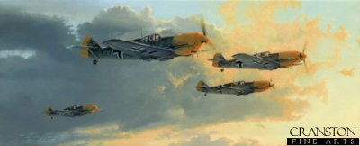 DHM1810. Dawn Eagles Rising by Robert Taylor. <p> September 1940: The Battle of Britain reaches a crescendo as Me109s of the 1./JG52, their bright yellow noses glinting in the sun, gather speed and altitude as they form up after take-off from their base at Coquelles, near Calais. Led by Hauptmann Wolfgang Ewald, the Scharwm settle into their loose, finger-four formation, the pilots alert for danger and ready for yet another raid on England, just a few miles across the Channel.<p><b>Last few copies available of this edition - sold out at publisher.</b><b><p>Signed by : <br>General Gunther Rall (deceased), <br>Leutnant Hugo Broch and <br>Walter Wolfrum (deceased).  <p>  Signed limited edition of 300 prints.<p> Paper size 27.5 inches x 17 inches (71cm x 43cm)