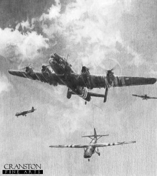 DHM1818. Out of the Night - The First To Go In by Robert Taylor. <p> Silently out of the night they came. With flaps deployed, three timber and plywood Horsa gliders swept swiftly down through the night skies, rapidly closing with their objective - Pegasus Bridge over the Caen Canal. On board, with tension etched deep into their blackened faces, men from the Oxfordshire & Buckinghamshire Light Infantry, part of the British 6th Airborne Division, braced themselves for landing. They, and sappers from the Royal Engineers, were about to become the first fighting force to land in France on D-Day. They were about to make history. <b><p>Signed by : <br> Private Alf Whitbread (deceased)<br> and<br> Private Billy Gray.<p> Signed limited edition of 300 prints.<p> Paper size 25.5 inches x 21.5 inches (65cm x 54cm)