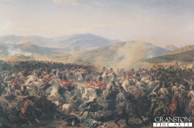 Charge of the Heavy Brigade during the Battle of Balaclava 25th October 1854  by Felix Philippoteaux. (Y)