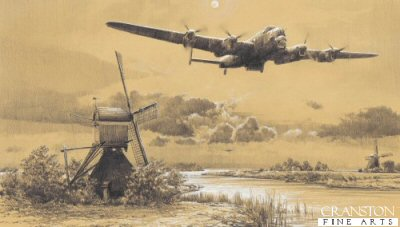 DHM1833. Inbound to Target - The Dambusters by Robert Taylor. <p> The crews of 617 Squadron that took part in the epic Dambusters raid on the night of 16/17 May 1943 were among the finest in the RAF. They were the elite of Bomber Command, and when they left RAF Scampton that night, the skills of their pilots - some of the finest of the Second World War, would be tested to the limit.  First, they must guide their aircraft across heavily defended enemy territory at altitudes often as low as fifty feet, dodging flak, trees, buildings and power lines.  And then they must attack their targets with a precision unmatched in the annals of the RAF.  Of all the pilots who took to the skies that night, no-one was more accomplished at low-level flying than Flight Lieutenant Mick Martin, and it is his aircraft, Lancaster AJ-P that is the subject of this artwork.  In company with Flight Lieutenant John Hopgood in the distance, they follow one of the many canals of Holland, wingtips barely missing the sails of the windmills, en-route to the Mohne Dam. <b><p>Signed by : <br>Sergeant Raymond E. Grayston (deceased) ,<br>Squadron Leader George L. Johnson DFM ,<br>Squadron Leader Les Munro DSO DFC RNZAF ,<br>Sergeant Frederick E. Sutherland RCAF ,<br>Flight Sergeant Grant S McDonald RCAF (deceased)<br>and<br>Corporal Kenneth Lucas (deceased). <p>Limited edition of 225 prints.<p> Paper size 22 inches x 14.5 inches (56cm x 37cm)  Image size 18.5 inches x 10.5 inches (45cm x 26cm)