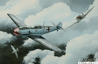 DHM1855AP. Flt Lt Walter Lawson by Ivan Berryman. <p> Depicting the No.19 Sqn Spitfire Mk.IIA of Flt Lt Walter Lawson attacking a Bf.109 E-4 of JG.3 in the Summer of 1940. The final tally of Lawson before he was listed as missing in August 1941 was 6 confirmed, 1 shared, 3 probables and 1 damaged.  The Bf.109 shown here was flown by Oberleutnant Franz von Werra. He survived this encounter, but was shot down over Kent in September 1940.  <b><p>The first few prints in this edition have been signed by Group Captain Byron Duckenfield AFC (deceased),<br>Flight Lieutenant Alex Thom DFC<br>and<br>Wing Commander John Freeborn DFC* (deceased) and are currently available.<p>Limited edition of 10 artist proofs.  <p> Image size 26 inches x 17 inches (66cm x 43cm)