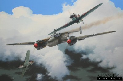 The Bf-110 grew out of Herman Gorings specifications for a multipurpose aircraft capable of penetrating deep into enemy airspace to clear the sky of enemy fighters in advance of German bomber formations. The aircraft would also be utilized as a long range interceptor, and as a ground support and ground attack bomber. The Bf-110 prototype first flew in 1936. The prototype was under powered with its Daimier Benz DB 600A engines. Several months passed before a go ahead was given for large scale production which commenced in 1938. Utilizing  improved DB 601 engines, the early production 110s were as fast as any single engine fighter at that time, and had superior fire power. Their biggest apparent weakness was in the areas of armor protection for the crew, and in terms of maneuverability when compared to single seat fighters. The 110 was produced in large numbers and in many different variants. The 110D was the long range model. An additional belly tank was fitted to that aircraft, with several later variants having the more traditional drop tanks. The first serious test for the Bf-110 came during the Battle of Britain. About 300 Bf-110s were involved. They became easy prey for Hurricane and Spitfire pilots, and Bf-109s were often required to assist the 110s in their own defense. On August 15, 1940, which became known as Black Tuesday, the Bf-110s were ravaged by the RAF, and for the month over 100 aircraft were lost. On the Eastern Front the Bf-110 performed admirably in the early stages of Operation Barbarossa. With the Soviet Air Force weakened in the first several weeks of the attack, 110s were effectively utilized in a ground attack role. Ultimately, the Luftwaffe re-equipped a significant number of its 110s as night fighters. The aircraft performed well in this role because it was a good gun platform with sufficient speed to overtake the RAF night bombers. Such night missions were typically carried out with no Allied fighter escort, so the 110 night fighters would