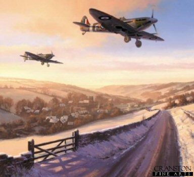 DHM1880. Winter of 41 by Nicolas Trudgian. <p> With the Battle of Britain won, and the first chinks in Goerings armour exposed, RAF Fighter Command is at last able to carry the war to the enemy.  It is the bittersweet winter of 41.  Mk Vb Spitfires, having taken off as the first streaks of dawn spread across the morning sky, return to a snow-covered airfield after a dawn patrol over the Channel.  Inhabitants of the sleepy English village begin to stir with the familiar sound of Merlin engines, counting each and every one of their fighter boys home. <p><b>Last 20 copies of this sold out edition. </b><b><p> Signed by Squadron Leader Neville Duke, DSO, OBE, DFC*, AFC, CzMC (deceased),<br>Warrant Officer Norman Samuels,<br>Lt Col Ervin Miller<br>and<br> Raymond Baxter (deceased).<p>Signed limited edition of 400 prints.  <p> Paper size 27 inches x 26 inches (69cm x 66cm)