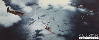 DHM1891. A Day for Heroes by Ivan Berryman. <p> The afternoon of 25th July 1940 was a desperate one for the already exhausted fighter pilots of the RAF defending the South coast of England.  As convoy CW8 made its way through the English Channel, sixty JU.87 Stukas and forty JU.88 bombers launched a brutal attack on the ships below, backed up by fighter cover of over 50 Messerscmitt Bf.109s.  Eight Spitfires of 64 Sqn (Kenley) were scrambled, together with twelve Spitfires of 54 Sqn (Hornchurch) and Hurricanes of 111 Sqn from Croydon.  The British pilots found themselves massively outnumbered, but nevertheless put up a spirited fight against the teeming enemy.  This painting shows Spitfires of 54 Sqn entering the fray, the pilots scattering as they choose their targets and go after the JU.87s. To the right of this, Bf.109Es of JG.26 are roaring in to join battle, whilst Adolf Gallands aircraft engages a Hurricane of 111 Sqn. <b><p>Signed by Group Captain Byron Duckenfield AFC (deceased),<br>Wing Commander Roger Morewood (deceased)<br>and<br>Flying Officer Ken Wilkinson.<p>Signed limited edition to 800 prints.  <p> Size 25.5 inches x 10.5 inches (65cm x 26cm)