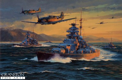 DHM1893. Break Out by Anthony Saunders. <p> As Me109s from 3./JG77 and Me110s from ZG76 provide aerial cover, the pride of the Kriegsmarine - the battleships Bismarck - together with the heavy cruiser Prinz Eugen, destroyers Z10 Hans Lody and Z16 Friedrich Eckholdt, and a support escort fleet break out from Norwegian waters into the open sea on the evening of 21st May 1941.  Heading for the rich pickings of the North Atlantic convoy routes, her ill-fated voyage would last only a few days.  After a shattering victory over HMS Hood, Bismarck was caught and sunk by the Royal Navy Home Fleet a few days later on 27th May 1941.  There were just 115 survivors from her complement of over 2000 men. <b><p>Signed by : <br>Hauptmann Karl-Fritz Schlossstein <br>.  <p>Signed limited edition of 400 prints<p> Image size 21 inches x 14 inches (53cm x 36cm)  Paper size 26.5 inches x 20 inches (67cm x 51cm)