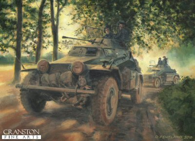 DHM1899PC. Eyes of the Army by David Pentland. <p> Northern France, 22nd May 1940.  Sdkfz 222 light armoured cars of the SS Leibstandarte Regiment drive along French lanes on a reconnaissance patrol for the forces of General Heinz Guderian on their advance towards the French coast. <b><p>Collector&#39;s Postcard - Restricted Initial Print Run of 100 cards. <p>Postcard size 6 inches x 4 inches (15cm x 10cm)