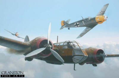 DHM1903. Ltn. Hans-Ekkehard Bob of JG21 Becomes an Ace by Ivan Berryman. <p> Major Hans-Ekkehard Bob is shown claiming his 5th victory - a Blenheim - 60km west of Rotterdam on 26th June 1940.  Bob went on to serve with JG.54, JG.51, JG.3, EJG2.2 and JV.44, scoring a total of 60 confirmed victories in the course of his Luftwaffe service.  The Blenheim claimed as his 5th victory is likely to have been R3776 of No.110 Squadron, which was the only Blenheim recorded to have been lost participating in Operation Soest on that day - while another returned to base damaged and crash landed.  The three crew of the Blenheim were all missing in action - P/O Cyril Ray Worboys, Sgt Gerald Patterson Gainsford and Sgt Kenneth Cooper. <b><p>Signed by Wing Commander Roger Morewood (deceased). <p> Morewood signature edition of 500 prints from a limited edition of 800 prints.  <p> Image size 17 inches x 11 inches (43cm x 28cm)