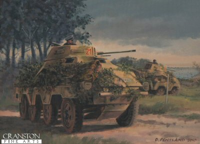 DHM1907PC. D-Day Recce by David Pentland. <p> Juno Beach, Normandy, 6th June 1944.  Sdkfz 232 armoured cars of 12th SS Reconnaissance Battalion commanded by  Obersturmfuhrer Peter Hansmann observe the Canadian beachhead at Juno Beach.  His small team was tasked with finding out if an invasion was actually underway and it drove some 80km, arriving at the coast near Tracy at 7.30 in the morning to witness the landings in progress. <b><p>Collector&#39;s Postcard - Restricted Initial Print Run of 100 cards. <p>Postcard size 6 inches x 4 inches (15cm x 10cm)
