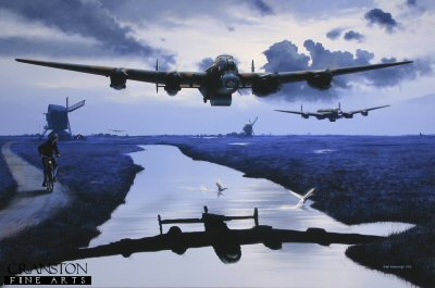 DHM1938. Dambusters - The First Wave by Ivan Berryman. <p> En route to the dams of the Ruhr Valley, the first wave of three specially adapted Avro Lancasters roar across the Dutch wetlands on the night of 16 -17th May 1943 led by Wing Commander Guy Gibson, their mission to breach the Mohne and Eder dams, thus robbing the German war machine of valuable hydro-electric power and disrupting the water supply to the entire area.  Carrying their unique, Barnes Wallis designed &#39;Bouncing Bomb&#39; and flying at just 30m above the ground to avoid radar detection, 617 Squadron&#39;s Lancasters forged their way into the enemy territories, following the canals of the Netherlands and flying through forest fire traps below treetop height to their targets.  Gibson&#39;s aircraft (&#39;G&#39;-George) is nearest with &#39;M&#39;-Mother of Fl/Lt Hopgood off his port wing and &#39;P&#39;-Peter (Popsie) of Fl/Lt Martin in the distance. <b><p>Signed limited edition of 1150 paper prints.  <p> Image size 17 inches x 11 inches (43cm x 28cm)
