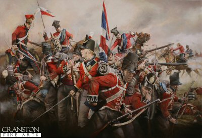 DHM1942. Red Square by Chris Collingwood. <p>The 2nd Battalion centre company 1st Regiment of Foot Guards under attack from the French Red Lancers at Waterloo, 18th June 1815. <b><p>Signed limited edition to 1150 prints.  <p> Size 25.5 inches x 17 inches (65cm x 43cm)