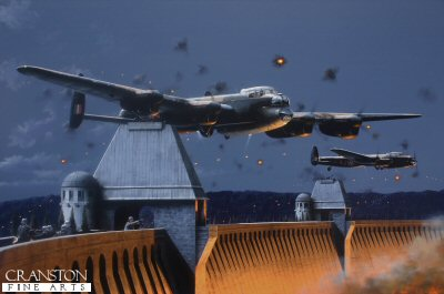 DHM1946. Dambusters - Moment of Truth by Ivan Berryman. <p> This was the moment when the massive M&#246;hne dam was finally breached on the night of 16th-17th May 1943 during the top secret Operation Chastise. The specially-converted Lancaster B MkIII of Fl/Lt David Maltby ED906(G) AJ-J roars between the towers of the dam, having released the Upkeep bouncing bomb that would ultimately cause a cascade of water to flood into the valley below. Fl/Lt Harold Martin&#39;s identical aircraft, ED909(G) AJ-P can be seen off Maltby&#39;s port wing with all of its light ablaze, drawing enemy fire from the attacking bomber. <b><p>Signed limited edition of 1150 paper prints.  <p> Image size 17 inches x 11 inches (43cm x 28cm)