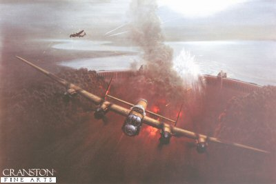 DHM1947. The Dambusters by Gerald Coulson. <p> Mick Martin&#39;s Lancaster pulls away from the M&#246;hne Dam, his Upkeep bomb exploding behind him sending a huge plume of water into the air.  Guy Gibson flies to his right drawing flak from the anti-aircraft guns on the towers. <p><b>Sold out at the publisher - we have only 8 prints left.</b><b><p>Signed by Squadron Leader George L. Johnson DFM,<br>Sergeant Raymond E. Grayston (deceased),<br>Flight Lieutenant Edward Johnson (deceased),<br>and<br>Flight Lieutenant George Chalmers DFC DFM (deceased).  <p>Signed limited edition of 400 prints.<p> Paper size 34 inches x 25 inches (86cm x 64cm)