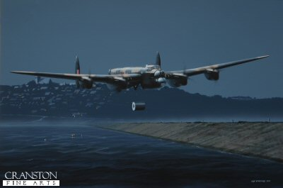 DHM1949B. Attack on the Sorpe by Ivan Berryman. <p>Of the five Lancasters that formed the Second Wave of Operation Chastise, just one aircraft made it to the target, the Sorpe Dam, on the night of 16th/17th May 1943. American pilot Joe McCarthy had been forced to switch to the reserve aircraft due to technical difficulties and subsequently took off slightly later than his less fortunate comrades, all of whom fell either to German flak or to mishaps on their perilous journey. Upon arrival, McCarthy found the view of the dam itself to be unobscured, although mist in the surrounding valleys made it difficult to gauge his approach. As this was not a masonry dam, a different tactic was employed to the M&#246;hne and Eder which involved flying along the length of the dam and dropping the Upkeep bomb, unspun, directly onto it. Their task was made all the more difficult by the fact that their approach necessitated McCarthy bringing AJ-T low over the hilltop village of Langsheid whose Church spire occupied the very point at which the aircraft had to pass to get a good run upon the dam. Undaunted and with great skill, ED825(G) made its run and released the bomb onto the dam, unassisted by the spotlight altimeter device that had proved so useful at the M&#246;hne and Eder as AJ-T had not been fitted with this aid. Nevertheless, the Upkeep struck the dam and exploded as planned, sadly with little effect. McCarthy and his brave crew returned safely to Scampton, their landing made slightly difficult by a tyre that had been damaged by light flak on the return journey. The Sorpe was attacked again in the small hours of the morning when Flight Sergeant Ken Brown&#39;s aircraft, AJ-F of the Third Wave arrived, once more striking the dam successfully, but again without breaching it. <b><p>Signed by Squadron Leader George L. Johnson DFM.<p>Signed limited edition of 30 prints. <p>Image size 16 inches x 11 inches (41cm x 28cm)