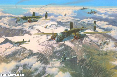 DHM1965. Battle of the Brenner by Anthony Saunders. <p> The last remaining units of the fascist Italian Air Force attempt to engage B25s from the 340th Bomb Group who have successfully destroyed a vital enemy rail bridge in the strategic Brenner Pass, northern Italy, 10 April 1945.  The enemy Me109s are completely routed by escorting P51 Mustangs of the 325th Fighter Group who are quickly on the scene.  There was only one way the Germans were going to re-supply their beleaguered army in Italy against the relentless assault of the Allies pushing northwards - and that was through the Brenner Pass in the Alps. The Allies knew that if they could destroy this strategic labyrinth of heavily defended road and rail bridges, the enemy would either be forced to surrender, or perish.  And the task of destroying these bridges fell to men of the US Twelfth and Fifteenth Air Forces who must fly their heavily-laden bombers dangerously close to the rugged Alpine peaks, and endure a pounding from the anti-aircraft guns lining the narrow pass below.  Not to mention any roving enemy fighters, or the turbulent weather over the mountains. <b><p>Signed by Second Lieutenant Gene Koscinski<p>Signed limited edition of 425 prints.  <p> Image size 21.5 inches x 14 inches (54cm x 36cm)