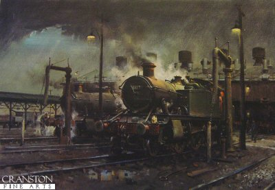DHM1966. Storm over Southall Shed by Terence Cuneo. <p> <p><b>Published during the late 1980s, this is a rare chance to own this superb locomotive art print.  We have managed to obtain 4 prints of this edition, signed by Terence Cuneo. </b> <b><p>Signed edition of prints.  <p> Image size 21.5 inches x 14.5 inches (54cm x 37cm)