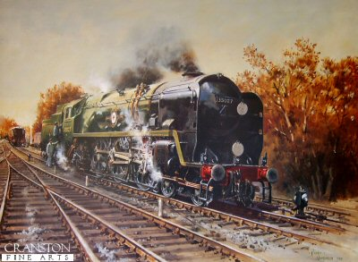 DHM1970B. Ready to Roll by Terence Cuneo. <p>  Merchant Navy Pacific no.35027 Port Line owned and restored by the Port Line Locomotive Project and now in traffic on the Bluebell Railway. <p><b>We have managed to obtain 3 prints of this edition published in 1988.</b><b><p>Unsigned edition of prints.  <p> Image size 26 inches x 20 inches (66cm x 51cm)