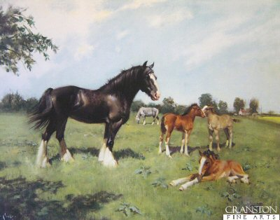 Shire and Foals by Terence Cuneo.