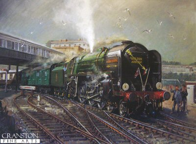 DHM1974. Golden Arrow by Terence Cuneo. <p> <i>The Coast! Shut her off, mate, and let her roll on in</i><br><br>A down Golden Arrow hauled by a Britannia Class locomotive, No 70004 <i>William Shakespeare</i> arrives at Dover Marine in the 1950s. <p><b>Published in 1994, the main edition has been sold out for many years.  We have just 4 prints available from the artists personal collection.  These prints are signed by the artist Terence Cuneo, but are not numbered, and are considered the artist proofs.</b> <b><p>Signed edition prints.  <p> Image size 24 inches x 17.5 inches (61cm x 45cm)