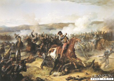DHM198.  Charge of the Light Brigade by Thomas Jones Barker. <p> Depicting Lord Cardigan (centre figure) amongst the Russian guns with the 13th Light Dragoons and 17th Lancers, other regiments in the charge of the Light Brigade were, 11th Hussars, 4th Light Dragoons and the 8th Hussars during the Battle of Balaclava in the Crimean War. <b><p> Open edition print. <p> Image size 30 inches x 20 inches (76cm x 51cm)