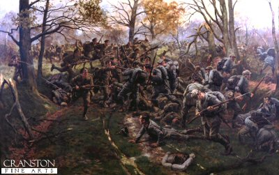 DHM199.  Defeat of the Prussian Guard at Ypres, 1914, by the 2nd Battalion Ox and Bucks (52nd) by William Barnes Wollen. <p> Depicting the Ox and Bucks during close quarter combat amongst the forest area around Ypres. 1914. <b><p> Open edition print. <p> Image size 25 inches x 15 inches (64cm x 38cm)