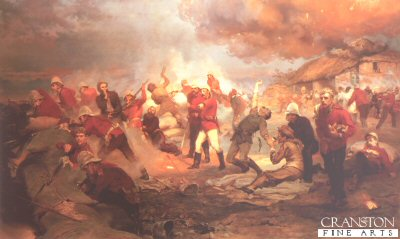 DHM2000C. Defence of Rorkes Drift by Lady Elizabeth Butler. <p> On January 22nd 1879, during the Zulu War, the small British field hospital and supply depot at Rorkes Drift in Natal was the site of one of the most heroic military defences of all time. Manned by 140 troops of the 24th Regiment, led by Lieutenant John Chard of the Royal Engineers, the camp was attacke by a well-trained and well-equipped Zulu army of 4000 men, heartened by the great Zulu victory over the British forces at Isandhlwana earlier on the same day. The battle began in mid afternoon, when British remnants of the defeat at Isandhlwana struggled into the camp. Anticipating trouble, Chard set his small force to guard the perimeter fence but, when the Zulu attack began, the Zulus came faster than the British could shoot and the camp was soon overcome. The thatched roof of the hospital was fired by Zulu spears wrapped in burning grass and even some of the sick and the dying were dragged from their beds and pressed into the desperate hand-to-hand fighting. Eventually, Chard gave the order to withdraw from the perimeter and to take position in a smaller compound, protected by a hastily assembled barricade of boxes and it was from behind this barricade that the garrison fought for their lives throughout the night. After twelve hours of battle, the camp was destroyed, the hospital had burned to the ground, seventeen British lay dead and ten were wounded. However, the Zulus had been repulsed and over 400 of their men killed. The Battle of Rorkes Drift is one of the greatest examples of bravery and heroism in British military history. Nine men were awarded Distinguished Conduct Medals, and eleven, the most ever given for a single battle, received the highest military honour of all, the Victoria Cross. <b><p>Open edition print, featuring printed text and images of medals in the border. <p> Image size 25 inches x 13 inches (64cm x 33cm) plus white border with text and medals.