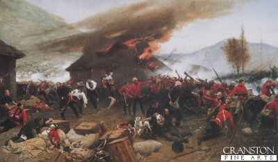 DHM202.  Defence of Rorkes Drift by Alphonse de Neuville. <p>By about 6pm the Zulu attacks had extended all around the front of the post, and fighting raged at hand-to-hand along the mealie-bag wall. Lieutenant Chard himself took up a position on the barricade, firing over the mealie-bags with a Martini-Henry, whilst Lieutenant Bromhead directed any spare men to plug the gaps in the line. The men in the yard and on the front wall were dangerously exposed to the fire of Zulu marksmen posted in the rocky terraces on Shiyane (Oskarsberg) hill behind the post. Several men were hit, including Acting Assistant Commissary Dalton, and Corporal Allen of the 14th. Surgeon Reynolds treated the wounded as best he could despite the fire. Once the veranda at the front of the hospital had been abandoned, the Zulus had mounted a determined attack on the building itself, setting fire to the thatched roof with spears tied with burning grass. The defenders were forced to evacuate the patients room by room, eventually passing them out through a small window into the open yard. Shortly after 6pm Chard decided that the Zulu pressure was too great, and ordered a withdrawal to a barricade of biscuit boxes which had been hastily erected across the yard, from the corner of the store-house to the front mealie-bag wall. In this small compound the garrison would fight for their lives throughout most of the coming night.<b><p>  Open edition print.   <p> Image size 32in x 19in (81cm x 49cm)