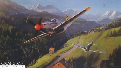 DHM2023. Checkertail Clan by Nicolas Trudgian.  <p> With their brightly coloured checkertail tails there was no mistaking the P.51 Mustangs of the 325th Fighter Group. Escorting B-24s over Austria in August 1944, tangled with a group of Fw190 fighters. The ensuing dogfight spiraled down below the mountain peaks as Herky Green led the Checkertails in a low-level chase. Herky nails one Fw190. Behind him his pilots will take out the two Fw190. When all is done this day the 325th will be credited with 15 enemy fighters destroyed. <b><p> Signed by <a href=signatures.php?Signature=309>Major Robert M Barkey (deceased)</a>, <br><a href=signatures.php?Signature=310>Colonel Arthur C Fielder</a> <br>and <br><a href=signatures.php?Signature=311>Major Herky Green (deceased)</a>, in addition to the artist.  <p> Signed limited edition of 600 prints.  <p>Paper size 27 inches x 19 inches (69cm x 48cm)