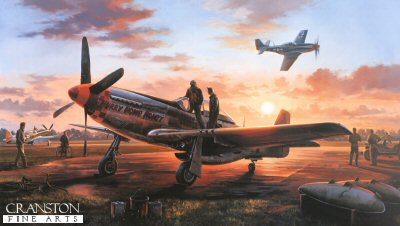 DHM2025. Last Man Home by Nicolas Trudgian. <p> In a scene that was repeated almost daily throughout the long war years, the pilots of the 357th Fighter Group have returned from a gruelling mission to their base in Leiston, Suffolk. As they clamber out of their aircraft, all eyes are turned anxiously skyward, awaiting the return of the last man home. <p><b>Less than 20 prints remain.</b><b><p> Signed by Colonel C E Bud Anderson, <br>Brigadier General Thomas L Hayes (deceased), <br>Captain William R OBrien (deceased) <br>and <br>Major Richard Bud Peterson (deceased), in addition to the artist.  <p>  Signed limited edition of 1000 prints.<p> Paper size 36 inches x 24 inches (91cm x 61cm)
