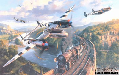 DHM2026. Lightning Encounter by Nicolas Trudgian. <p> P-38 Lightnings launching a surprise attack on a German freight train as it winds its way through the hills of Northern France towards the battle front, shortly before D-Day, 1944. <p><b>Last 14 copies available of this sold out edition. </b><b><p> Signed by Captain Larry Blumer (deceased), <br>Lieutenant Colonel Joseph A Dobrowolski (deceased), <br>First Lieutenant Robert C Milliken<br>and <br>Colonel Dick Willsie (deceased). <p> Signed limited edition of 1000 prints. <p> Paper size 33 inches x 24 inches (84cm x 61cm)
