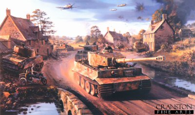 DHM2035B. Tigers in Normandy by Nicolas Trudgian. <p> The Battle for Point 112, a strategically positioned hill just a few miles south-west of Caen, was the scene of the most violent fighting between German and British armor, artillery and ground troops during the weeks immediately following the D-Day invasion, in June 1944.  Desperate to regain Hill 112, on July 9th, the Tiger tanks of SS Panzer Battalion 102 were ordered to advance.  2 Kompanies Tigers managed to occupy the eastern slopes of the hill, while 1 Kompanie came under fire as they rached the first houses in the small village of Maltot.  At this point they came head on to British Sherman tanks.  Entering the village firing his 88, Unterscharfuhrer Fey in tank 138 quickly knocked out three Shermans at 200 yards range, and by the evening of July 10th the Panzers had re-taken Maltot.  But Allied artillery had driven the Germans off Hill 112.  The battle raged on for another three weeks when on August 1st the Allies frove the Germans off Point 112 for the final time.  Tigers of SS Panzer Battalion 102 yet again advance towards the infamous hill, passing two Shermans knocked out in the previous days fighting. Overhead, Me109s of II./JG26 give aerial support as the German armour makes a last ditch attempt to repel the advancing forces, in their effort to hold the important city of Caen.<p><b>Last 3 copies available of this sold out edition. </b><b><p>Signed by Oberstleutnant Alfred Rubbel, <br>Feldwebel Richard Schwarzmann (deceased) <br>and <br>Unteroffizier Dr Franz-Wilhelm Lochmann. <p> Limited edition of publishers proofs. <p> Paper size 34 inches x 24 inches (86cm x 61cm)