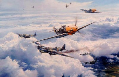 DHM2051. Most Memorable Day by Robert Taylor. <p> Adolf Galland and his wingman Bruno Hegenauer break through the fighter escort of No. 303 Squadrons Spitfires to attack Blenheim bombers of No. 21 Squadron over northern France, 21 June 1941. In two missions that day Galland claimed two Blenheims and one Spitfire, survived a forced crash-landing, and later a parachute escape from his blazing Me109. That evening he learned he was to become the first recipient of the Knights Cross with oak leaves and swords - Germanys highest award for heroism.<p><b>SOLD OUT. </b><b><p>Signed by General Adolf Galland (deceased), <br>Oberst Johannes Naumann (deceased), <br>Major Gerhard Schopfel (deceased) <br>and <br>Hauptmann Otto Stamberger (deceased). <p> Signed limited edition of 1000 prints. <p> Paper size 33 inches x 25 inches (84cm x 64cm)