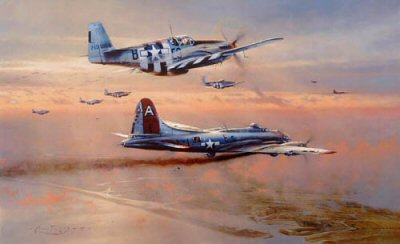 DHM2056AP.  Bringing the Peacemaker Home by Robert Taylor. <p> Badly marked by Focke-Wulf 190&#39;s the B-17 The Peacemaker of the 91st Bomb Group limps towards the sanctuary of the English coast escorted by P-51B Mustangs of the 361st Fighter Group. To keep her flying the crew are jettisoning everything that they can. The Peacemaker made it back to Bassingbourne that day, eight others did not. <b><p>Signed by Colonel C E Bud Anderson, <br>Lt Col Jams D Fletcher, <br>Lt Col Marion H Havelaar <br>and <br>Colonel Steve Pisanos. <p> Limited edition of 50 artist proofs.<p> Image szie 33 inches x 24 inches (84cm x 61cm)