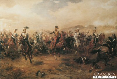 DHM208.  The Charge of the light Brigade by Robert Hillingford. <p>Depicting the charge  before they reach the Russian guns, the picture starts to show a confusion beginning to appear in the desperate charge.<p><b><i>Customers should note that a tiny bit of damage to the original painting is visible on our prints.  See detail images.  These prints were published in the early 1980s by Cranston Fine Arts, and now only a few are available.</i></b><b><p> Open edition print. <p> Image size 30 inches x 19 inches (76cm x 48cm)