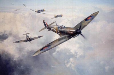 DHM2080.  Head on Attack by Robert Taylor. <p> On October 12, 1940, No. 603 Squadron, reduced to only eight aircraft, took on a large formation of Me109s attacking head on. Robert Taylors vivid portrayal shows Scott-Maldens Spitfire moments after knocking down an Me109 in the encounter, both he and his wingman coming through unscathed.<p><b>Sold out at the publisher - last 7 copies available.  These have a very small bend in the bottom right hand corner of the border.  It does not affect the image or even the inner coloured border, only the outer white border.</b><b><p>Signed by Air Vice-Marshal David Scott-Malden (deceased). <p> Signed limited edition of 1250 prints.  <p>Paper size 24 inches x 20 inches (61cm x 51cm)