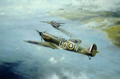 DHM2081.  First Combat by Robert Taylor. <p>Don Kingaby is the only pilot in the RAF to have been awarded 3 DFMs. During his first combat on August 12, 1940, he severely damaged an JU88 over the Isle of Wight and Robert Taylor captures the moment of break, with the JU88 already smoking. Don Kingaby flew a further 450 operational sorties on Spitfires. <p><b>Last copy available of this sold out edition.</b><b><p>Signed by Wing Commander Don Kingaby DSO AFC DFM** DFC (USA) (deceased). <p> Signed edition of 990 prints.  <p>Paper size 24 inches x 20 inches (61cm x 51cm)