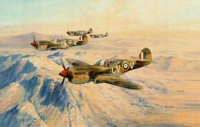 DHM2086.  Desert Hawks by Robert Taylor. <p> A flight of Kittyhawks of No. 3 Squadron Royal Australian Air Force on a strike mission over the North African Desert in January 1942, in the build-p to the Battle of Alamein. No. 3 Squadron RAAF was the first in the Desert to achieve 100 confirmed victories, and continuing in combat throughout the fighting in North Africa, became the Squadron with the highest number of air victories of the Desert Air Force Squadrons. <p><b>SOLD OUT.</b><b><p>Signed by RAAF and RAF Pilots Nicky Barr (deceased), <br>Bobby Gibbes (deceased), <br>Peter Jeffrey (deceased) <br>and <br>Alan Rawlinson (deceased). <p> Signed limited edition of 850 prints.  <p>Paper size 33 inches x 24 inches (84cm x 61cm)