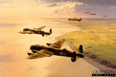 DHM2088. Target Peenemunde by Robert Taylor. <p> On the evening of 17th August 1943, a total of 596 aircraft of RAF Bomber Command, spearheaded by the Pathfinder Force, set out on what called for, and what became, the most precise bombing raid of the war.  Success was vital.  The target was a secluded research establishment near the remote Baltic town of Peenemunde.  There, a group of top German scientists were developing the V-2 rocket projectile, with which Hitler hoped to devastate London and other major English cities.  When Allied Intelligence discovered the plan, the RAF was allotted the task of destroying the installation at Peenemunde, whatever the cost.  Brilliantly navigated in darkness right over the target, the masterbombers aircraft, seen in the forefront of this painting, made nine dangerous passes over the target, directing operations. During the next 55 minutes Hitlers secret weapon establishment was almost totally destroyed by the bomber crews that followed his directions.  The raid was completed with great gallantry but at heavy cost, and is today remembered as one of the greatest achievements of the RAF.  The painting shows Lancasters of No. 83 Squadron Pathfinder Force as they climb out over the east coast of England en-route for Peenemunde on the warm summer evening of 17th August, 1943. <p><b>Last 2 copies of this sold out edition.<b><p> Signed by : <br>Flight Lieutenant Bill Reid VC (deceased), <br>Wing Commander Roderick Learoyd VC (deceased),  <br>Group Captain Hamish Mahaddie DSO DFC (deceased) <br>and <br>Squadron Leader Norman Scrivener DSO DFC (deceased). <p> Signed limited edition of 1250 prints. <p> Paper size 33 inches x 25 inches (83cm x 64cm)