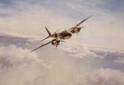 DHM2090.  Mosquito Into Attack by Robert Taylor. <p> Leonard Cheshire VC is one of the most outstanding of all RAF Bomber Pilots. He devised the master bomber technique - flying low over the target marking with flares, allowing the main force to pinpoint the target in the darkness. Cheshire flew over 100 operational missions and was awarded the Victoria Cross for his supreme courage.<p><b>This print is <i>not</i> signed by the artist Robert Taylor. </b><b><p>Signed by Group Captain Leonard Cheshire VC OM DSO** DFC* (deceased). <p> Signed limited edition of 1500 prints. <p> Paper size 24 inches x 20 inches (61cm x 51cm)